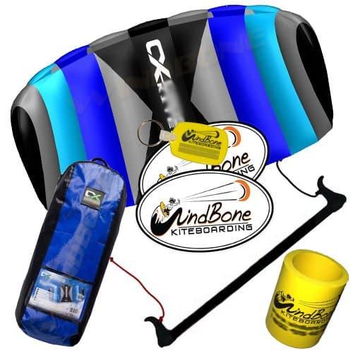 Prism Tensor 3.1 Power Foil Kite 3-Line Control Bar CX Kite Bundle: (5 Items) Includes 2ND Control Bar Kite : CX 1.5M Foil Control Bar Trainer Kite + WindBone Kiteboarding Lifestyle Decals + WindBone Kitesurfing Key Chain + WB Kiteboarding Koozy Cooler : Land Snow Trainer Foil Traction Power Kite