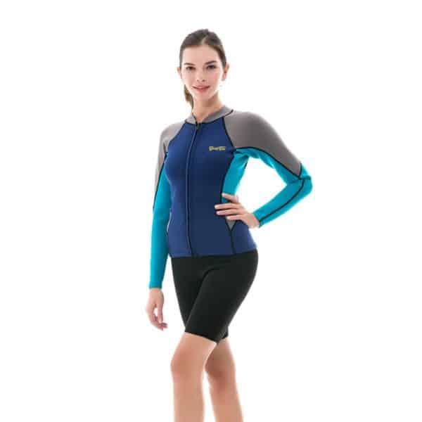 Goldfin Wetsuit Top Jacket Neoprene for Women 2mm Long Sleeves Front Zip Diving Snorkeling Surfing Kayaking Canoeing SW004