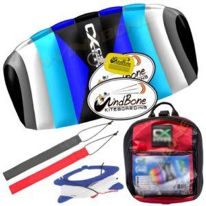 HQ Rush V Pro School 300 DePower Kiteboarding Trainer Kite CXS Bundle : (5 Items) Includes 2ND Kite : CX 1.5M Foil Control Strap Kite + WindBone Kiteboarding Lifestyle Decals + Key Chain +Koozy Cooler
