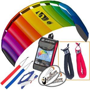 HQ Symphony Beach III 1.8 Kite Rainbow Bundle (3 Items) + Peter Lynn Heavy Duty Padded Kite Control Strap Handles Pair + WindBone Kiteboarding Lifestyle Stickers