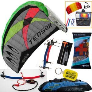 Prism Tensor 3.1 Power Foil Kite (Blue) 3-Line Control Bar Traction Trainer Bundle: Includes 2ND Kite : HQ Symphony Beach II 1.3M Foil Kite + Prism Kite Repair Kit + WBK Kiteboarding Key Fob Accessory Snow Traction