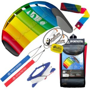 HQ Symphony Beach III 1.3 Kite Rainbow + Tail Bundle (4 Items) + 20ft Rainbow Plastic Kite Tail Streamer + WindBone Kiteboarding Lifestyle Stickers