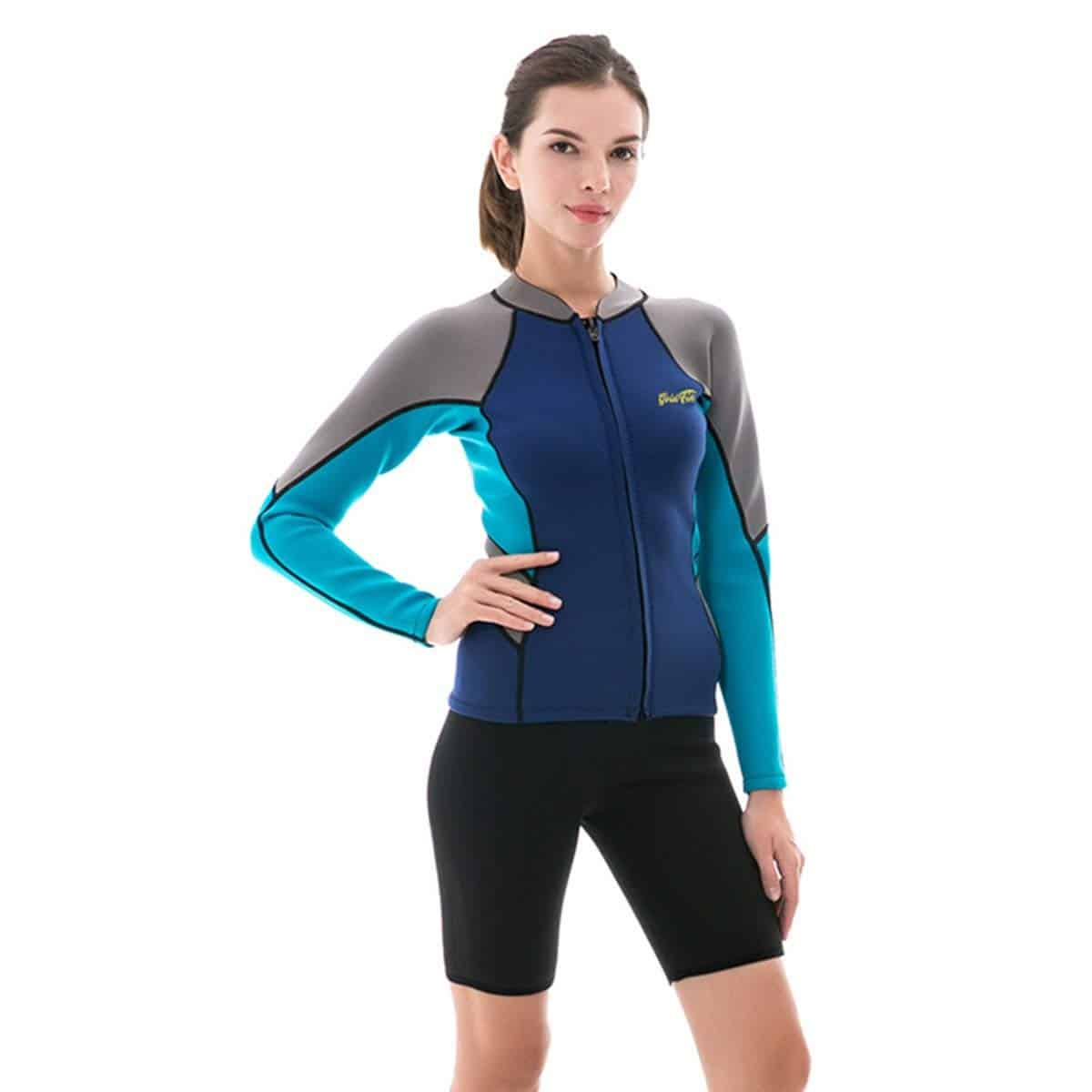 Goldfin Wetsuit Top Jacket Neoprene for Women 2mm Long Sleeves Front Zip  Diving Snorkeling Surfing Kayaking Canoeing SW004 1a49b69f3