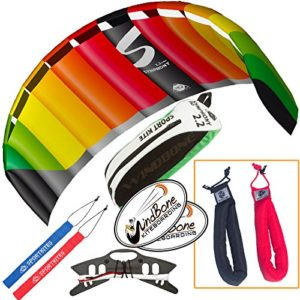 HQ Symphony Pro 2.2 Kite Rainbow Bundle (3 Items) + Peter Lynn Heavy Duty Padded Kite Control Strap Handles Pair + WindBone Kiteboarding Lifestyle Stickers