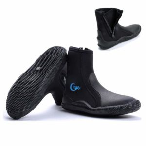 Water Shoes Water Booties Diving Boot Wetsuit Shoes Men Women with Fin Strap Holder, Premium Neoprene 5mm Hi Top Zipper Boot with Anti-slip Rubber Soles for Scuba Diving, Snorkeling,Surfing,Boating
