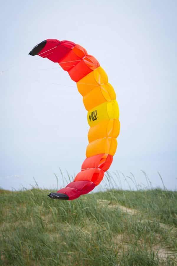 HQ Symphony Beach III 1.8 Kite Mango Bundle (3 Items) + Peter Lynn Heavy Duty Padded Kite Control Strap Handles Pair + WindBone Kiteboarding Lifestyle Stickers