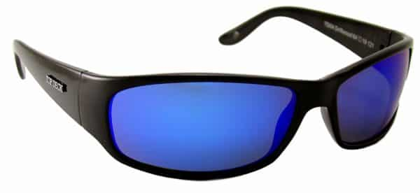 Top Deck Driftwood Polarized Sunglasses, Shiny Black Grilamid Full Rim Frame and Revo Blue Mirror Lens
