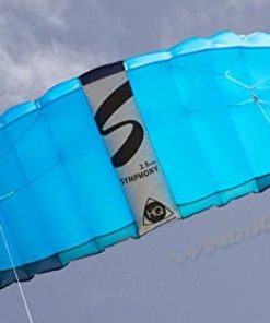 HQ Symphony Pro 2.5 Kite Mega Tail Bundle (4 Items) + Prism 75ft Tube Tail + Peter Lynn Heavy Duty Padded Kite Control Strap Handles Pair + WindBone Kiteboarding Lifestyle Stickers (Neon)