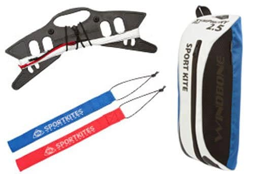 HQ Symphony Pro 2.5 Kite Mega Tail Bundle (4 Items) + Prism 75ft Tube Tail + Peter Lynn Heavy Duty Padded Kite Control Strap Handles Pair + WindBone Kiteboarding Lifestyle Stickers (Rainbow)