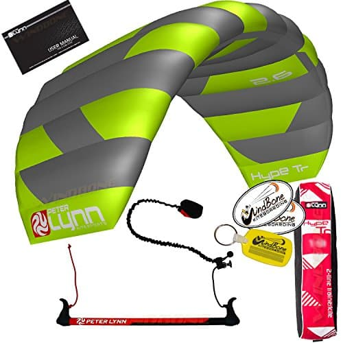 Peter Lynn Hype TR Foil Power 2-Line Control Bar Trainer Kite w Leash Kitesurfing Snowkiting Landboarding Buggy Traction Bundled with WindBone Kiteboarding Lifestyle Decals & Key Fob