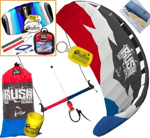 HQ Rush V Pro School 300 DePower Kiteboarding Trainer Kite CXS Bundle : (5 Items) Includes 2ND Kite : CX 1.5M Foil Control Strap Kite + WindBone Kiteboarding Lifestyle Decals + Key Chain +Koozy Cooler