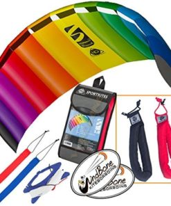 HQ Symphony Beach III 1.8 Kite Rainbow Bundle (3 Items) + Peter Lynn Heavy Duty Padded Kite Control Strap Handles Pair + WindBone Kiteboarding Lifestyle Stickers