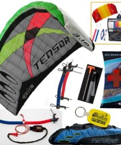 Prism Tensor 3.1 Power Foil Kite (Blue) 3-Line Control Bar Traction Trainer Bundle: Includes 2ND Kite : HQ Symphony Beach II 1.3M Foil Kite + Prism Kite Repair Kit + WBK Kiteboarding Key Fob Accessory Snow Traction