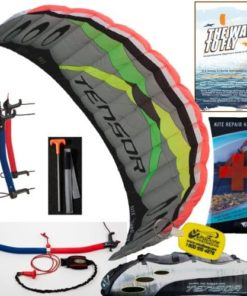 Prism Tensor 5.0 Power Foil Kite (Silver) 3-Line Control Bar Traction Trainer Bundle: Includes The Way To Fly Instructional Kiteboarding DVD + Prism Kite Repair Kit + WBK Kiteboarding Key Fob Accessory Snow Traction