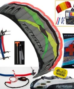 Prism Tensor 5.0 Power Foil Kite (Silver) 3-Line Control Bar Traction Trainer Bundle: Includes FREE 2ND Kite : HQ Symphony Beach II 1.3M Foil Kite + Prism Kite Repair Kit + WBK Kiteboarding Key Fob Accessory Snow Traction