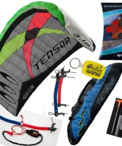Prism Tensor 3.1 Power Foil Kite (Blue) 3-Line Control Bar Traction Trainer Bundle: Includes FREE Prism Kite Repair Kit + WBK Kiteboarding Key Fob Accessory Snow Traction