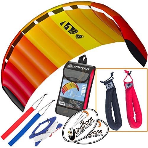 HQ Symphony Beach III 2.2 Kite Mango Bundle (3 Items) + Peter Lynn Heavy Duty Padded Kite Control Strap Handles Pair + WindBone Kiteboarding Lifestyle Stickers