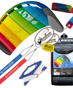 HQ Symphony Beach III 1.3 Kite Rainbow + Tail Bundle (4 Items) + 20ft Rainbow Plastic Kite Tail Streamer + WindBone Kiteboarding Lifestyle Stickers