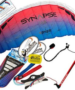 Prism Synapse 200 Coho Kite w Control Bar Bundle (4 Items) + Peter Lynn 2-Line Control Bar w Safety Leash + WindBone Kiteboarding Lifestyle Stickers + WBK Key Chain - Kiteboarding Trainer Kite Kit