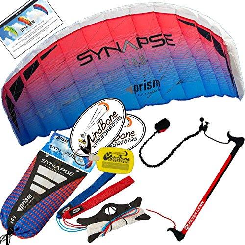 Prism Synapse 200 Coho Kite w Control Bar Bundle (4 Items) + Peter Lynn 2-Line Control Bar w Safety Leash + WindBone Kiteboarding Lifestyle Stickers + WBK Key Chain - Kiteboarding Trainer Kite Kit