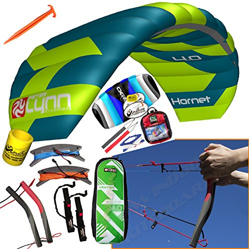 Peter Lynn Hornet 4M Quad Handles Buggy Traction 4-Line Trainer 2 Kite Bundle : (6 Items) Includes 2nd Kite CX 1.5M Control Strap Kite + Ground Stake +WindBone Kite Lifestyle Decals +Key Chain +Koozie