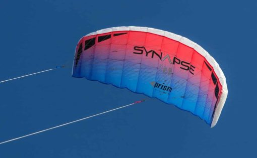 Prism Synapse Foil Power Kite with Stunt Display Tail Bundle (3 Items) + Prism 75ft Tube Tail + WindBone Kiteboarding Lifestyle Stickers (200 Coho)