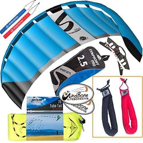 HQ Symphony Pro 2.5 Kite Mega Tail Bundle (4 Items) + Prism 75ft Tube Tail + Peter Lynn Heavy Duty Padded Kite Control Strap Handles Pair + WindBone Kiteboarding Lifestyle Stickers (Neon)