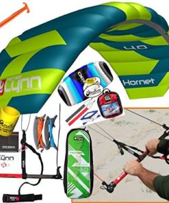Peter Lynn Hornet 4M Control Bar Kiteboarding 4-Line Trainer 2 Kite Bundle : (6 Items) Includes 2nd Kite CX 1.5M Control Strap Kite + Ground Stake + WindBone Kite Lifestyle Decals + Key Chain + Koozy