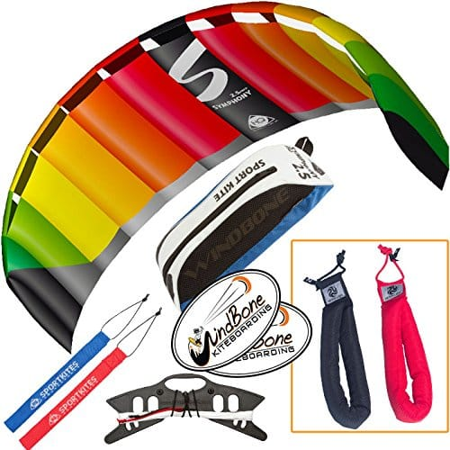 HQ Symphony Pro 2.5 Kite Rainbow Bundle (3 Items) + Peter Lynn Heavy Duty Padded Kite Control Strap Handles Pair + WindBone Kiteboarding Lifestyle Stickers
