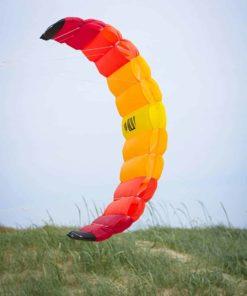 HQ Symphony Beach III 2.2 Kite Mango Bundle (3 Items) + Peter Lynn Heavy Duty Padded Kite Control Strap Handles Pair + WindBone Kiteboarding Lifestyle Stickers