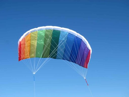 In the Breeze Rainbow 62 Inch Sport Kite - Dual Line Stunt Parafoil - Includes Braided Kite Line and Bag - Easy to Fly