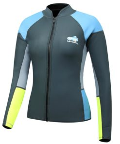 Lemorecn Women's 1.5mm Wetsuits Jacket Long Sleeve Neoprene Wetsuits Top