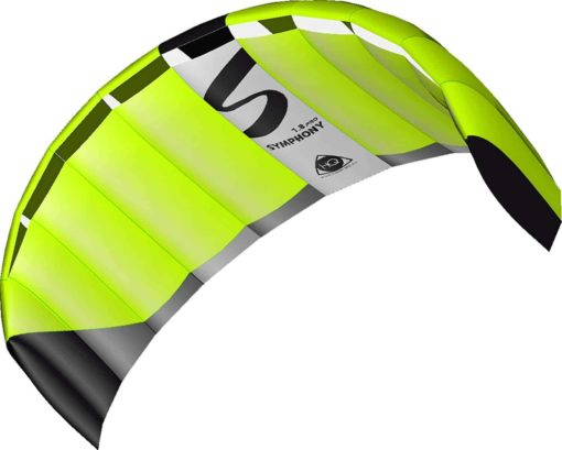HQ Symphony Pro 1.8 Kite Neon Green Bundle (3 Items) + Peter Lynn Heavy Duty Padded Kite Control Strap Handles Pair + WindBone Kiteboarding Lifestyle Stickers