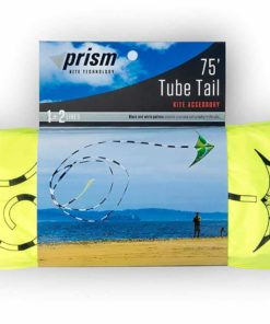 Prism Synapse Foil Power Kite Mega Tail Bundle (4 Items) + Prism 75ft Tube Tail + Peter Lynn Heavy Duty Padded Kite Control Strap Handles Pair + WindBone Kiteboarding Lifestyle Stickers (200 Coho)