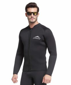 Adult's 3mm Wetsuit Jacket Men Top Long Sleeve Neoprene Zipper up Wetsuits for Dive Surf Kayak