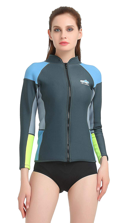 Lemorecn Women's 1.5mm Wetsuits Jacket Long Sleeve ...