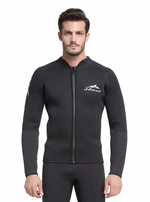 Adult's 3mm Wetsuit Jacket Men Top Long Sleeve Neoprene Zipper up Wetsuits for Dive Surf Kayak