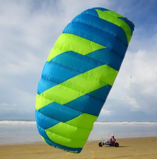 Peter Lynn Hornet 4M Quad Handles Buggy Traction 4-Line Trainer 2 Kite Bundle : (6 Items) Includes 2nd Kite CX 1.5M Control Strap Kite + Ground Stake +WindBone Kite Lifestyle Decals +Key Chain +Koozie