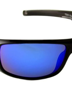TOP DECK Outer Banker Polarized Sunglasses, Shiny Black Grilamid Full Rim Frame and Revo Blue Mirror Lens