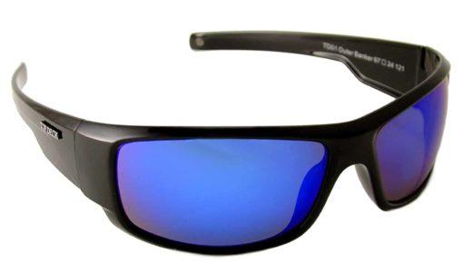 TOP DECK Outer Banker Polarized Sunglasses, Shiny Black Grilamid Full Rim Frame and Revo Blue Mirror Lens