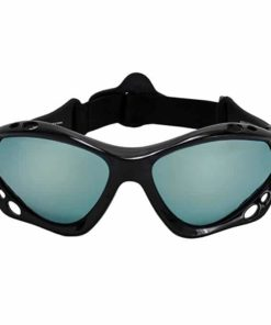 SeaSpecs Black Mirage Surfing Kiteboarding Jetskiing Windsurfing Sunglasses with Ice Blue Mirror