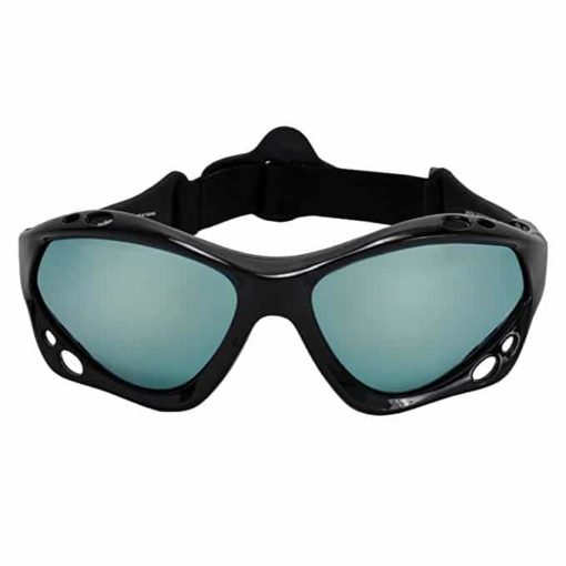 SeaSpecs Black Mirage Surfing Kiteboarding Jetskiing Windsurfing Sunglasses with Ice Blue Mirror